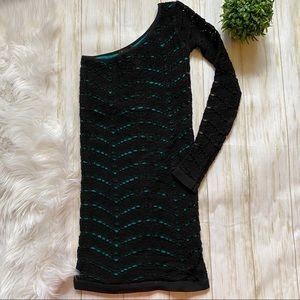 Bebe Black & Turquoise Crochet One Shoulder Dress